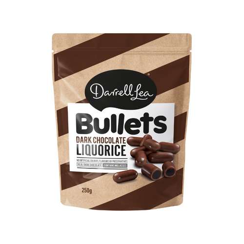 Darrell Lea Bullets Dark Chocolate Liquorice 250g