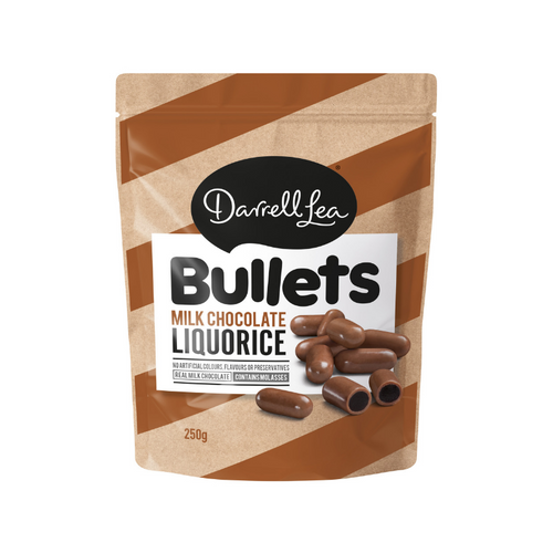 Darrell Lea Bullets Milk Chocolate Liquorice 250g