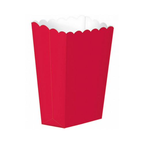Popcorn Box Plain Red 5pcs (13 x 9.5 cm)