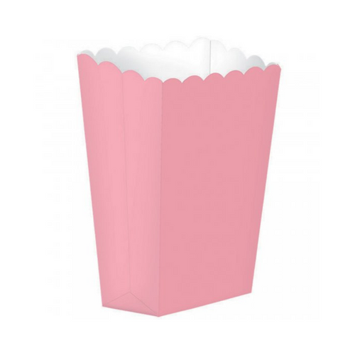 Popcorn Box Plain Pink 5pcs (13 x 9.5 cm)