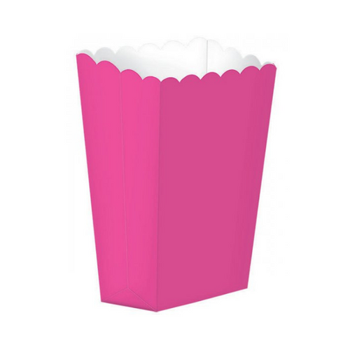 Popcorn Box Plain Hot Pink 5pcs (13 x 9.5 cm)