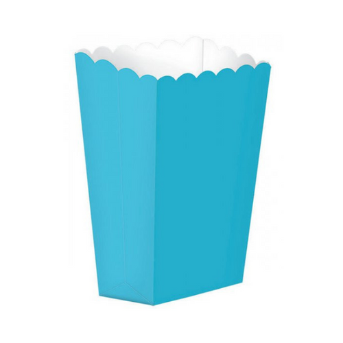 Popcorn Box Plain Caribbean Blue 5pcs (13 x 9.5 cm)