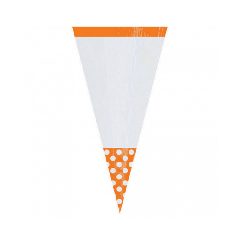 Cone Cello Bags Orange 10pcs (24.7cm)