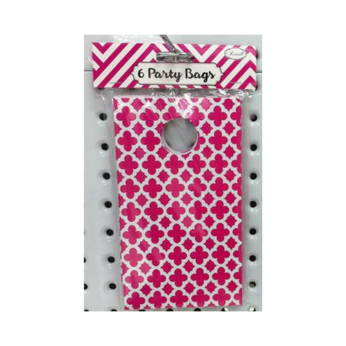 Party Bag Pattern Hot Pink 6pk