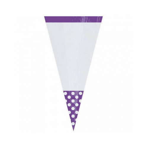 Cone Cello Bags Purple 10pcs (24.7cm)