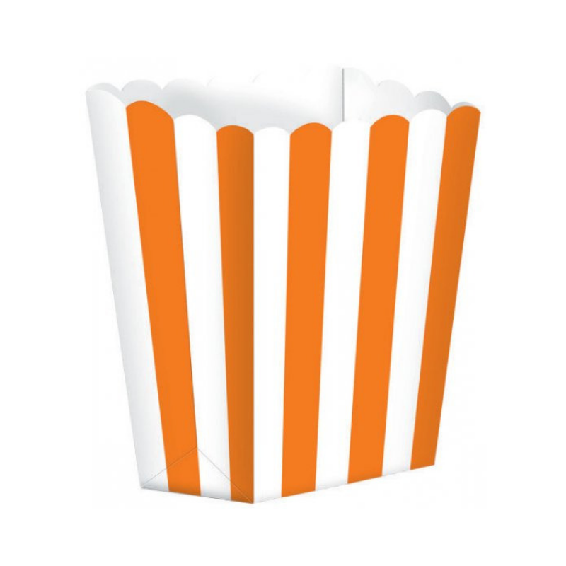 Popcorn Box Striped Orange 5pcs (13 x 9.5 cm)