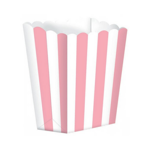 Popcorn Box Striped Pink 5pcs (13 x 9.5 cm)