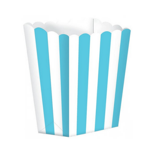 Popcorn Box Striped Blue 5pcs (13 x 9.5 cm)