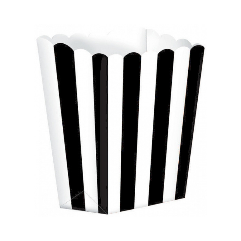 Popcorn Box Striped Black 5pcs (13 x 9.5 cm)