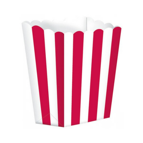 Popcorn Box Striped Red 5pcs (13 x 9.5 cm)