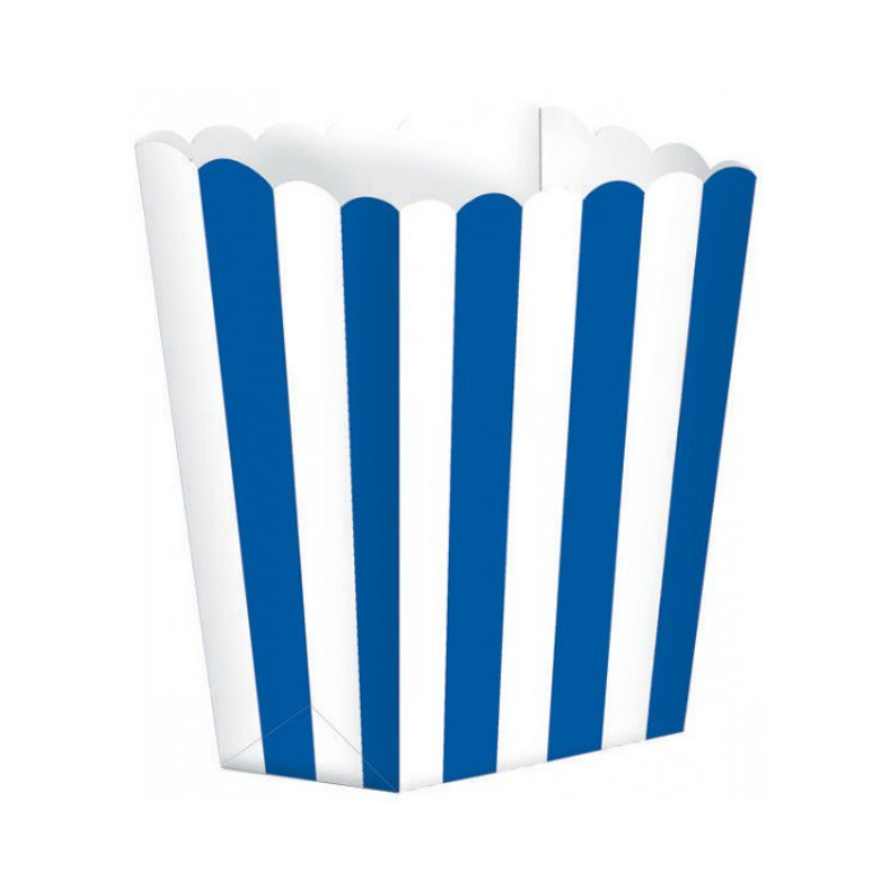 Popcorn Box Striped Royal Blue 5pcs (13 x 9.5 cm)