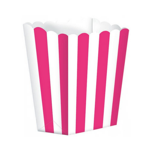 Popcorn Box Striped Hot Pink 5pcs (13 x 9.5 cm)