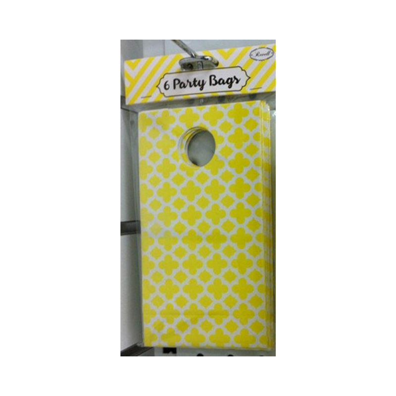 Party Bag Pattern Yellow 6pk