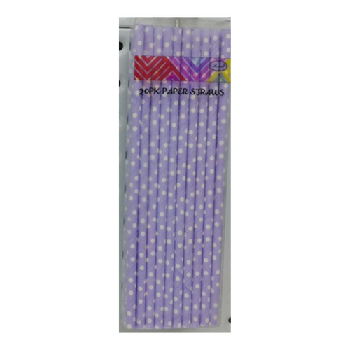 Paper Straws Purple 20pk