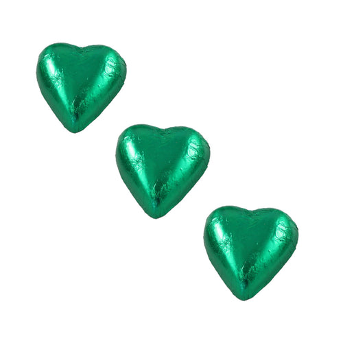 Chocolate Foil Hearts Green