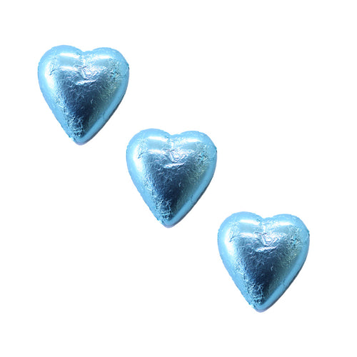 Chocolate Foil Hearts Light Blue