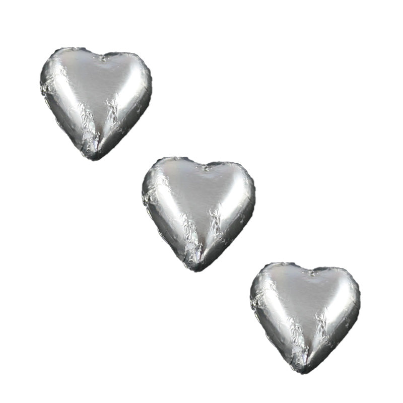 Chocolate Foil Hearts Silver
