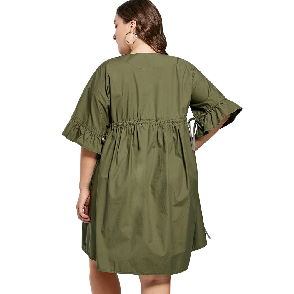 Plus Size Flare Sleeve Babydoll Dress
