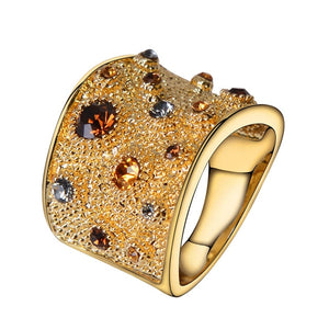 Viennois Wide Gold Color Finger Rings For women Multicoloured Rhinestones Paved Cocktail Ring