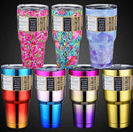 30oz Stainless Steel  Double Wall Travel Mug Cold or Hot Water Coffee Cup Gold