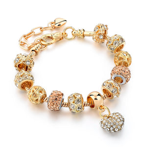 Gold Color Crystal Heart Charm Personalized Bracelets & Bangles For Women Trendy Jewelry Handme