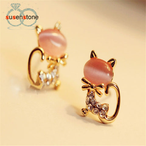 New Fashion Korean Cute Cat Stone Crystal Rhinestone Women Stud Earrings Stud