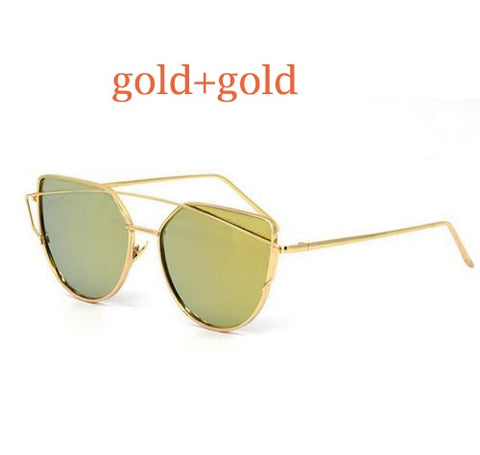 Cat Eye vintage designer rose gold mirror Sunglasses For Women Metal Reflective flat lens
