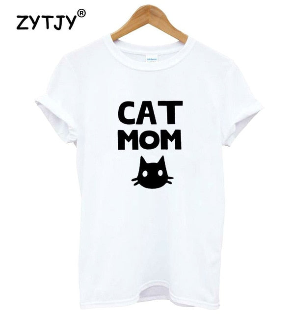 Cat mom Print Women t-shirt Cotton Casual Funny t shirt