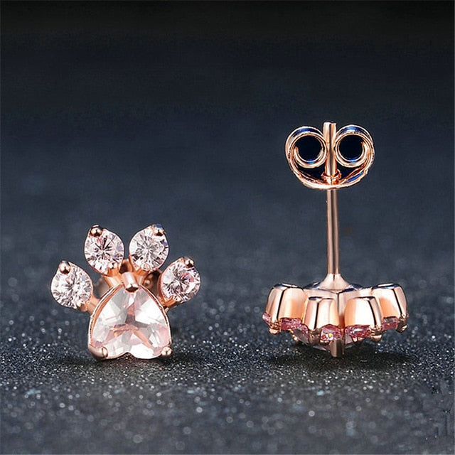 New Shiny Pink Stud Earring Dog Paw  Rose Gold Earrings for Women