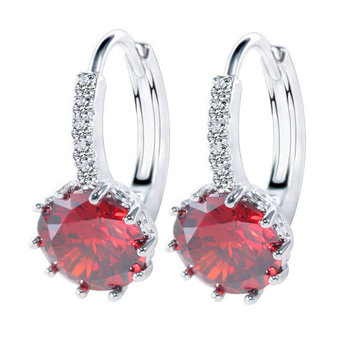 Luxury Ear Stud Earrings For Women 12 Colors Round With Cubic Zircon Charm Flower