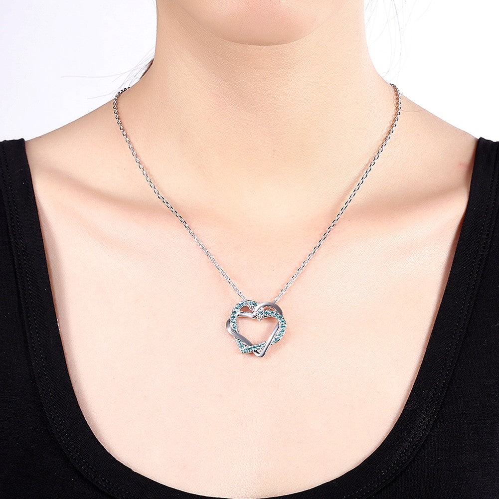 White Gold Plated Saphire Crystal Necklace