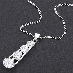 Swarovski Crystal 4 Stone Drop Necklace in 18K White Gold Plated