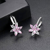 Cute Romantic Clear Stone Flower Shape Simple Stud Earrings Copper Cubic Zirconia For Women