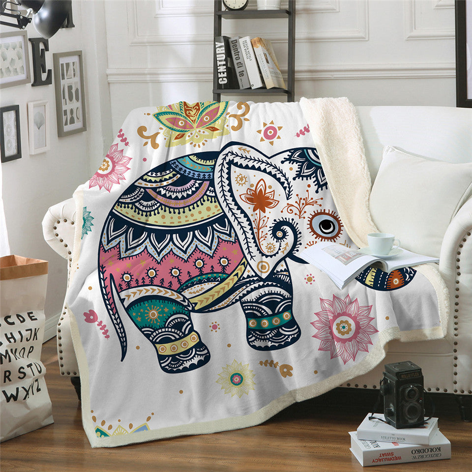 Soft Cozy Elephant Modern Line Art Sherpa Blanket for Couch Throw Travel