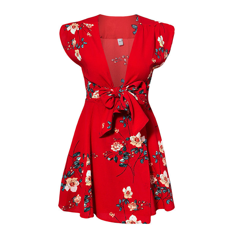 Red deep v neck chiffon floral print summer dress Women casual boho style