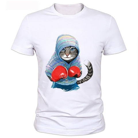 Boxing Cat Print Fashion Casual Summer White Tops Shirts O-neck Short Sleeve Loose Cotton