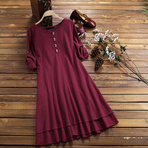 Plus Size Women's O-neck Casual Half Sleeve Loose Dress