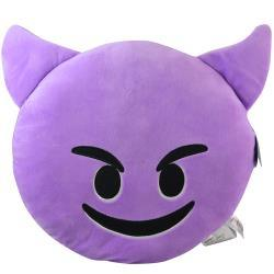 Emoji Smiling with Horns Large Plush Pillow