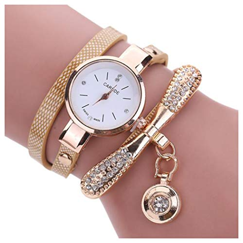 Inkach Women Leather Rhinestone Analog Quartz Wrist Watches Gift (Beige): Watches