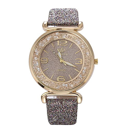 Women Quartz Watch, Srogem Ladies Bling Wrist Watch Crystal Jewelry Bracelet Watches (Gray): Watches