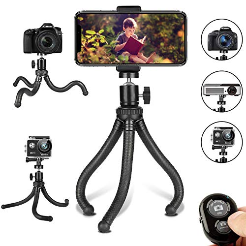 Phone Tripod, Flexible Cell Phone Tripod Adjustable Camera Stand Holder with Wireless Remote Control and Universal Clip 360° Rotating Portable Tripod for iPhone, Android Phone, Sports Camera GoPro: Camera & Photo