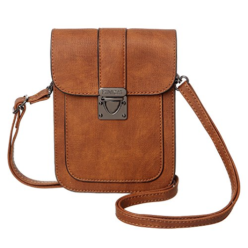 MINICAT Women Simple Series Small Crossbody Bags Synthetic Leather Cell Phone Purse Wallet(Brown)