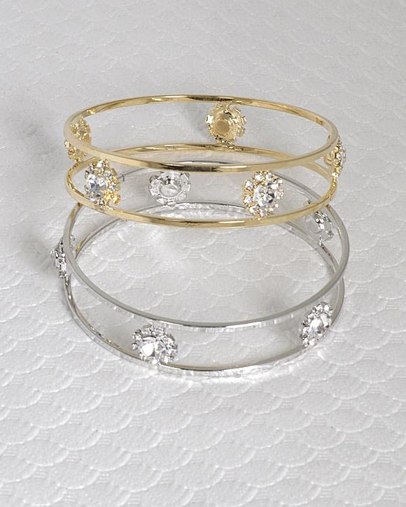 Crystal and Rhinestone Embellished Hollow Bracelet