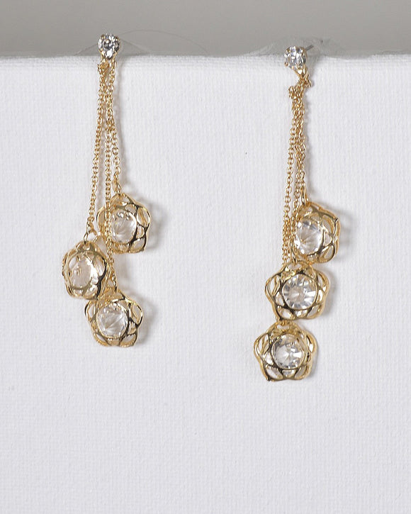 Crystal Studded Metallic Floral Detailing Drop Earrings
