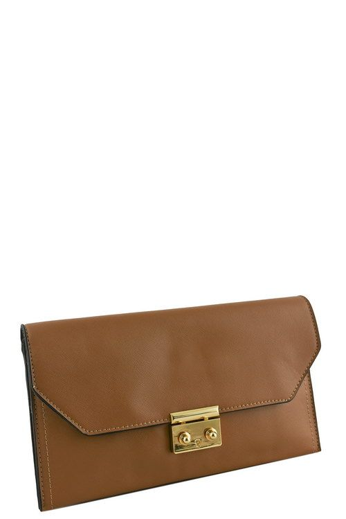 Designer push lock flap clutch