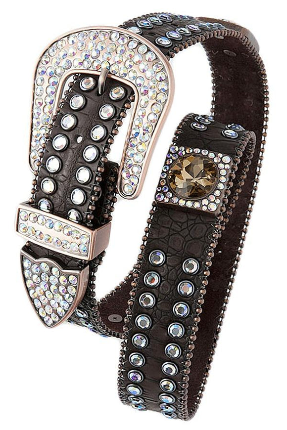 Textured rhinestone leather belt