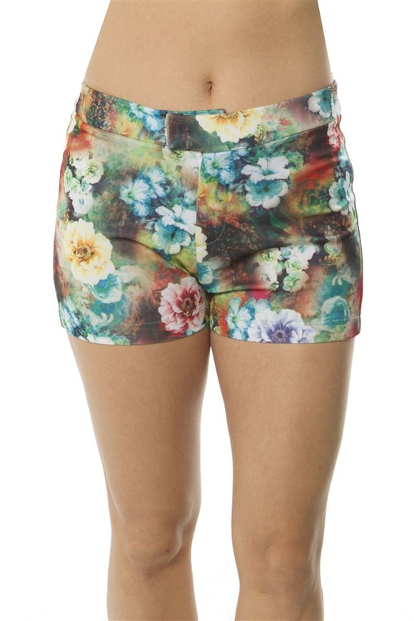 Ladies fashion zip up floral print short