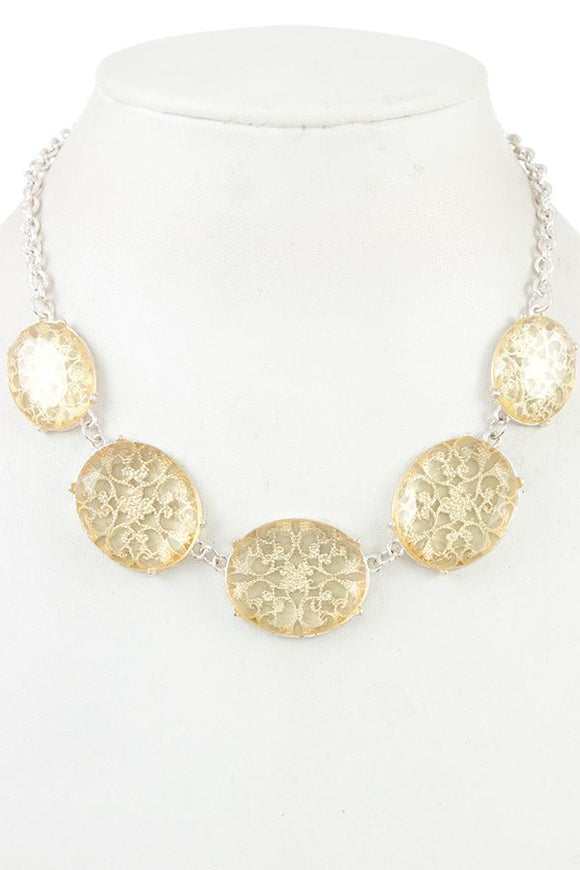 Floral filigree faceted stone necklace
