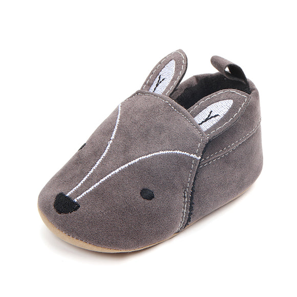 New arrival high quality nubuck leather fox design baby shoes 2018