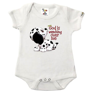 Baby Bodysuit- Infant Baby Bodysuit- Short Sleeved Onesie for Infants- Printed Bodysuits for Babies- Cute and Comfortable- 100% Cotton- White Universal Size Onesie- For Babies up to 1 Year Old- Great Present